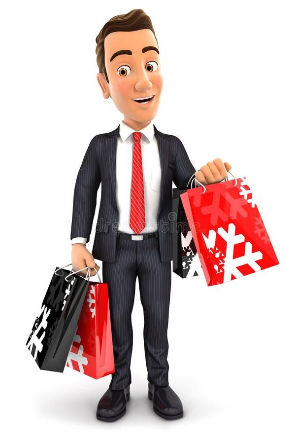 3d zakenman dragende het winkelen zakken vector illustratie