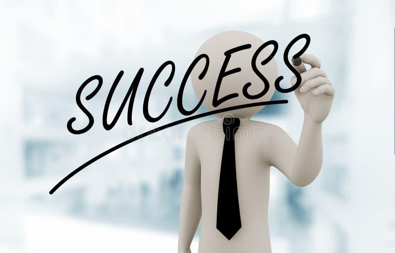 3d zakenman het schrijven succes op het aanrakingsscherm stock illustratie