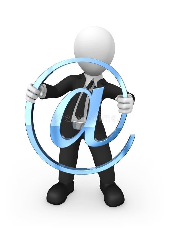3d zakenman met blauw e-mailsymbool in handen vector illustratie