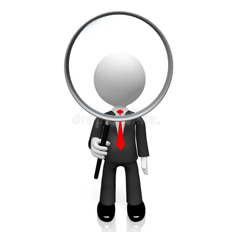 3D zakenman, vergrootglasconcept vector illustratie