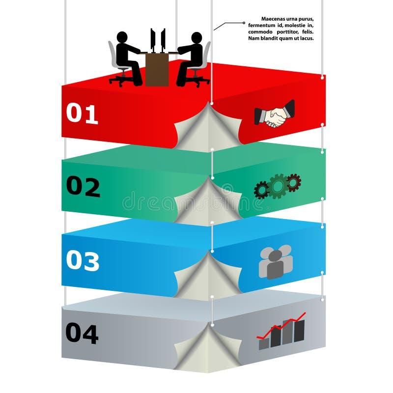 3d zasięrzutne platformy z pracownikami dla biznesu id ilustracja wektor