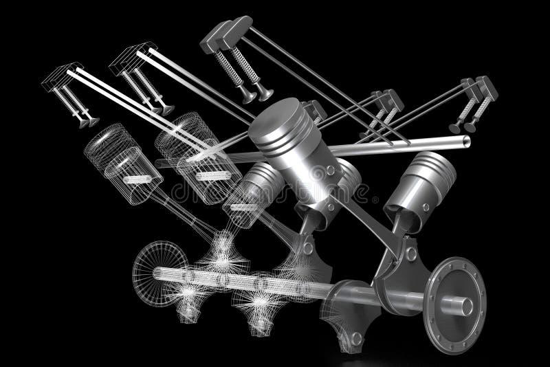 3D zes-cilinder motor van een auto - vast lichaam en wireframe model, zwarte achtergrond vector illustratie