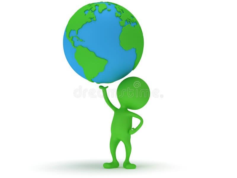 3d zielonego mężczyzna stojak z ziemską planety kulą ziemską ilustracji