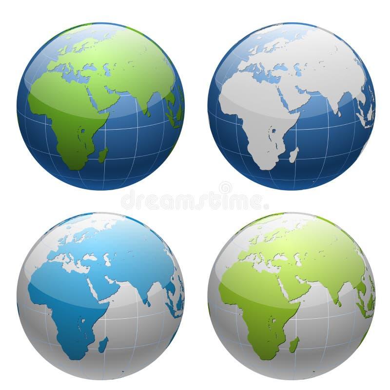 3D ziemi kuli ziemskiej ikony set ilustracji