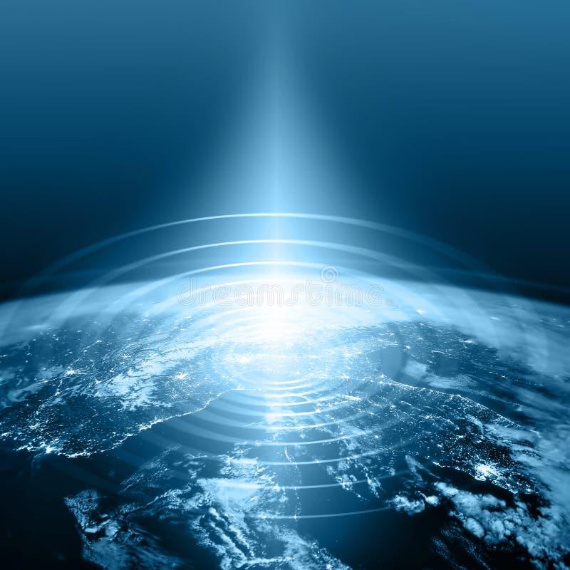 3 d ziemi pozbawione linii horyzontu interliniuje najlepszej biznesowej pojęcia pojęć globalnej kuli ziemskiej rozjarzone ręki in royalty ilustracja