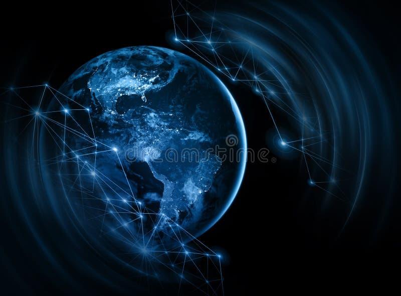 3 d ziemi pozbawione linii horyzontu interliniuje najlepszej biznesowej pojęcia pojęć globalnej kuli ziemskiej rozjarzone ręki in ilustracja wektor