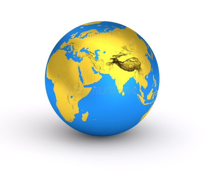 3D Ziemska złota błękitna planeta obraz stock