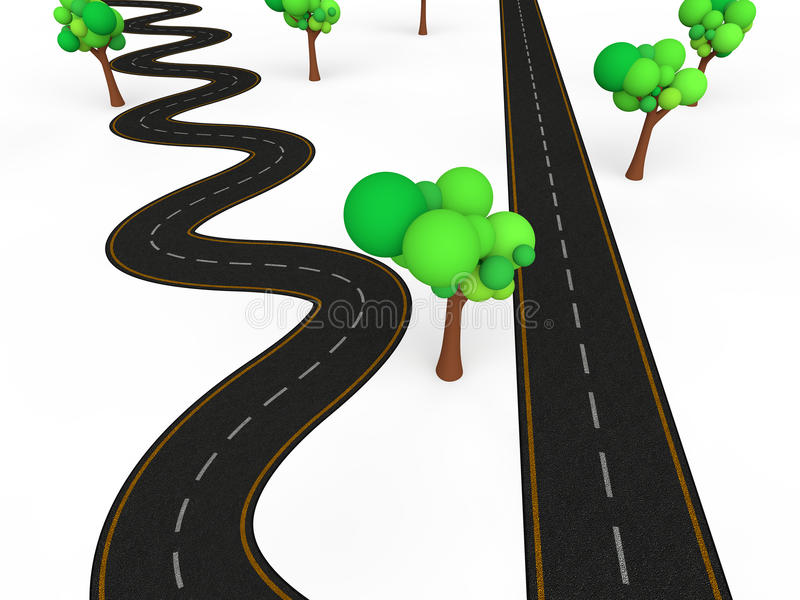 3d zigzag vs straight road. 3d render of zigzag vs straight road depicting complex and simple paths stock illustration