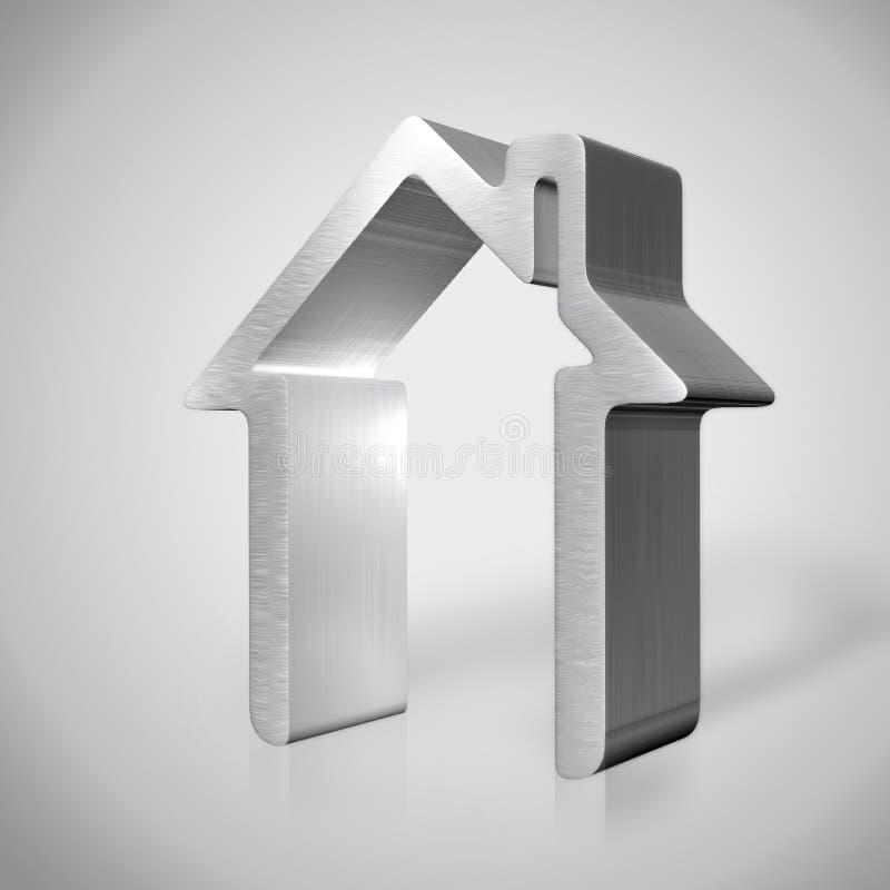 3d zilveren huis geeft terug vector illustratie