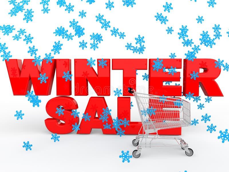 3d zimy sprzedaż z płatkami śniegu i wózek na zakupy ilustracji