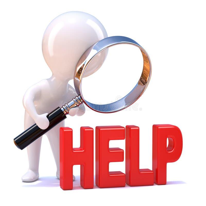 3d zoekt Weinig mens hulp vector illustratie