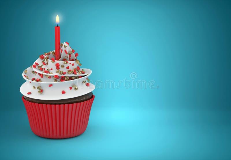 3d zoete cupcake met kaars en harten vector illustratie