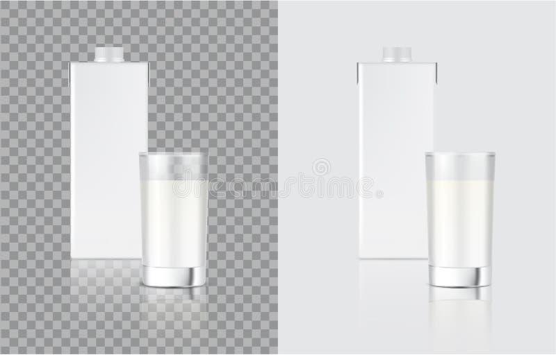 3D zombam acima a caixa e o vidro realísticos do bloco da caixa do leite para o produto de alimento e de bebida que empacota o fu ilustração stock