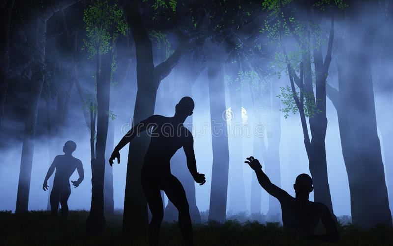 3D zombies in spooky foggy forest vector illustration