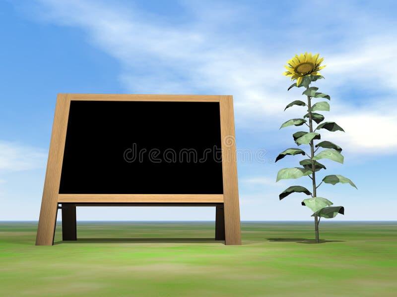 3D zonnebloembord - geef terug stock illustratie