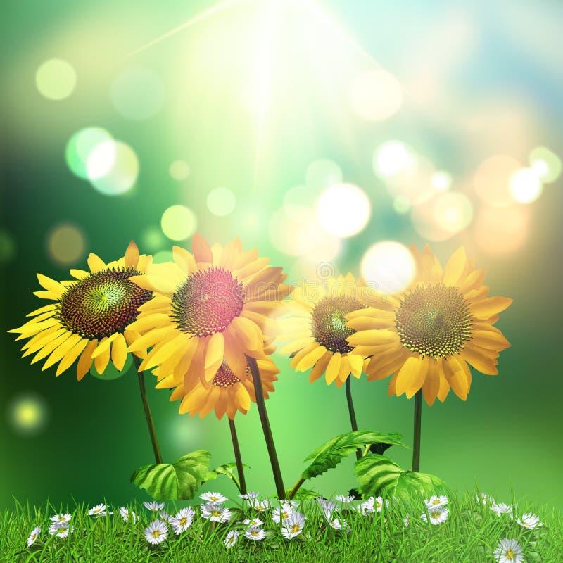 3D zonnebloemen en madeliefjesachtergrond stock illustratie