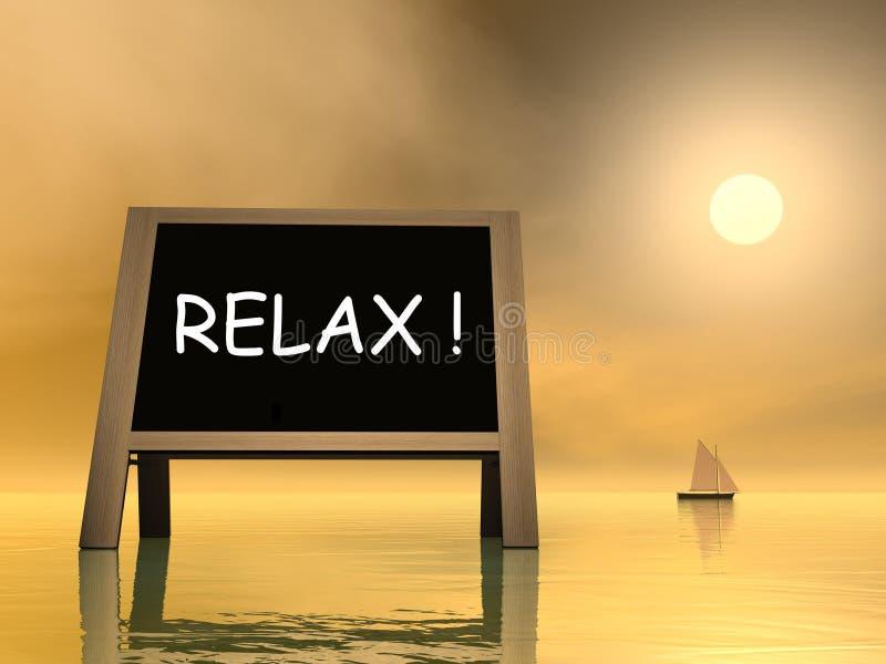 3D zonsondergangontspanning - geef terug stock illustratie