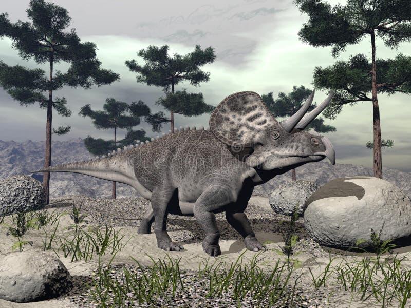 3D Zuniceratopsdinosaurus - geef terug royalty-vrije illustratie