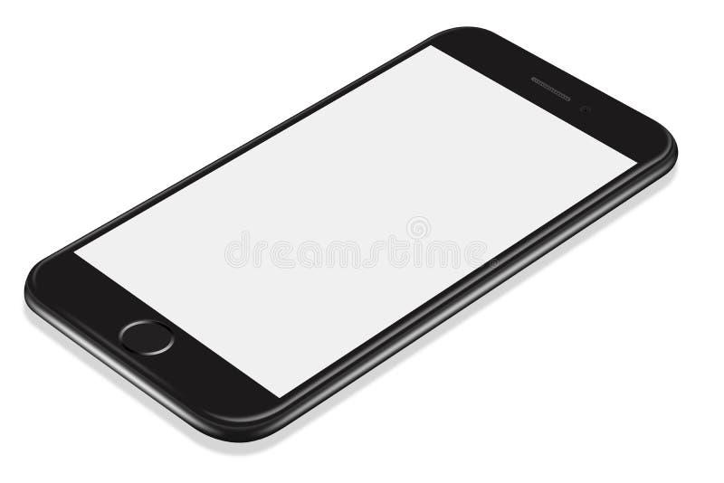 3D zwart smartphonemodel van het illustratie Realistisch perspectief vector illustratie
