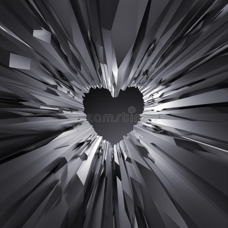 3d zwarte achtergrond van het kristalhart, gekristalliseerd voorwerp, samenvatting royalty-vrije illustratie
