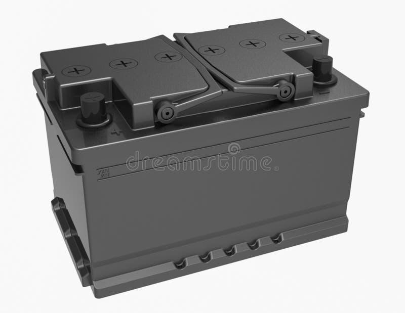 3D zwarte autobatterij met zwarte handvatten en zwarte terminals op w vector illustratie