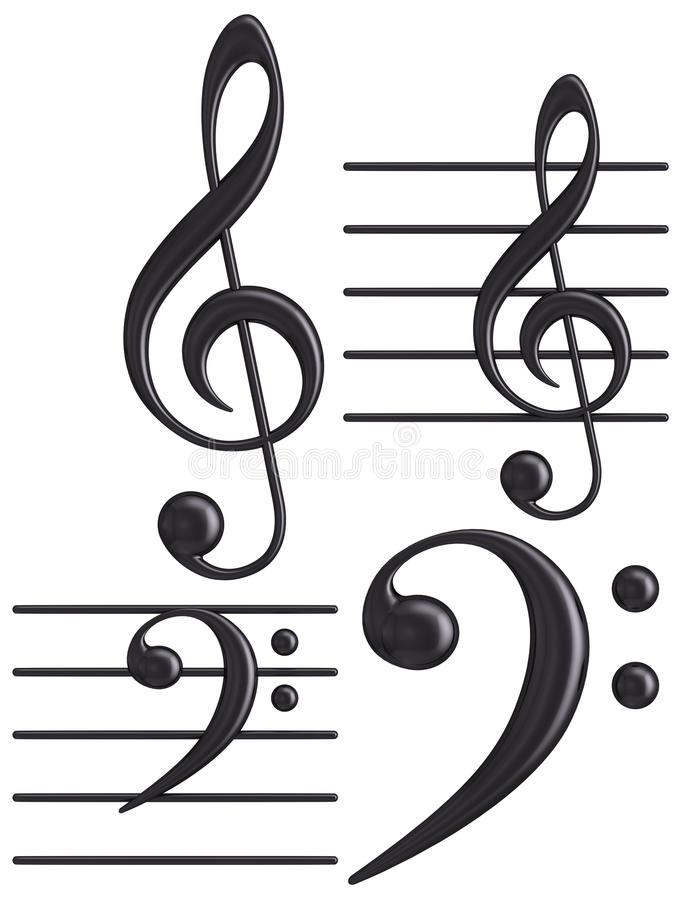 3D zwarte de sleutel muzikale symbolen van G en F- vector illustratie