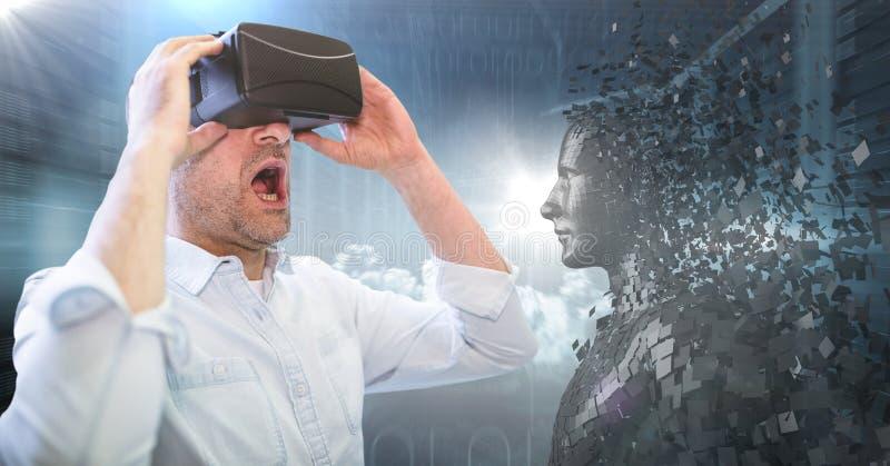 3D zwarte mannelijke AI en mens in VR met mond open tegen servers en gloed royalty-vrije stock foto's