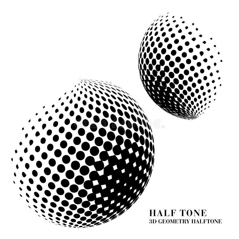 3D zwarte meetkunde van de halftintgradiënt om de bal van het puntgebied royalty-vrije illustratie