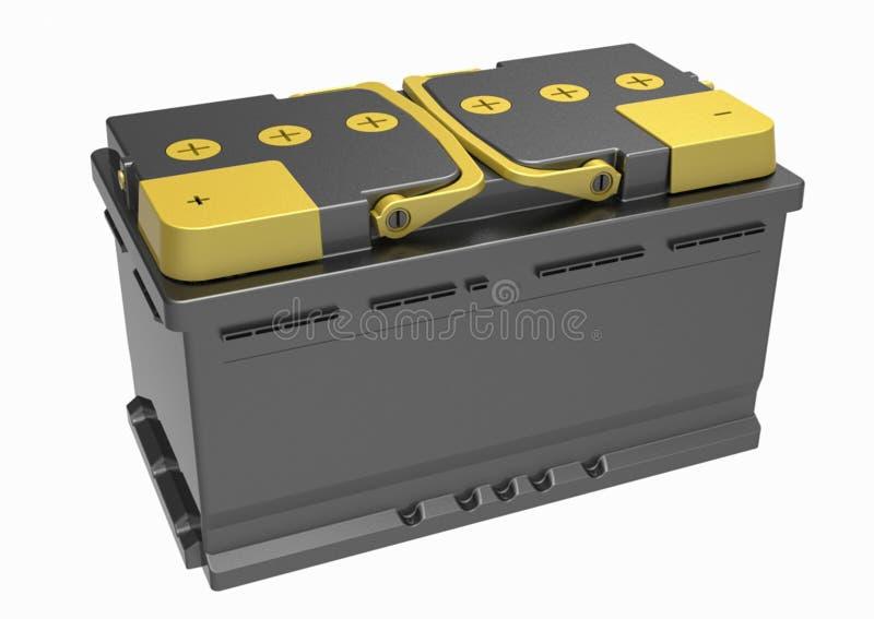 3D zwarte vrachtwagenbatterij met gele handvatten en geel eindc royalty-vrije illustratie