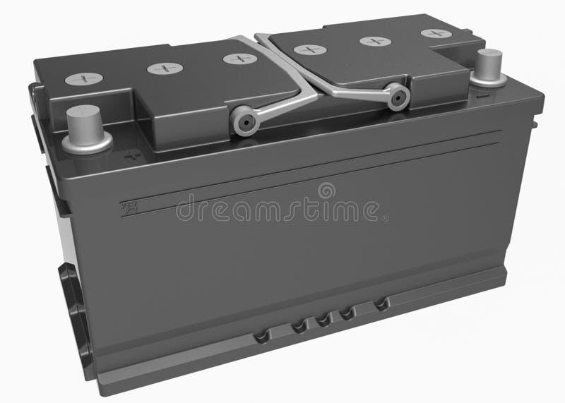 3D zwarte vrachtwagenbatterij met grijze handvatten en grijze terminals op w royalty-vrije illustratie