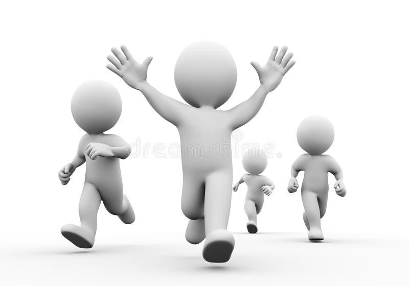 3d zwycięzcy szczęśliwy setkarz z rękami up ilustracji