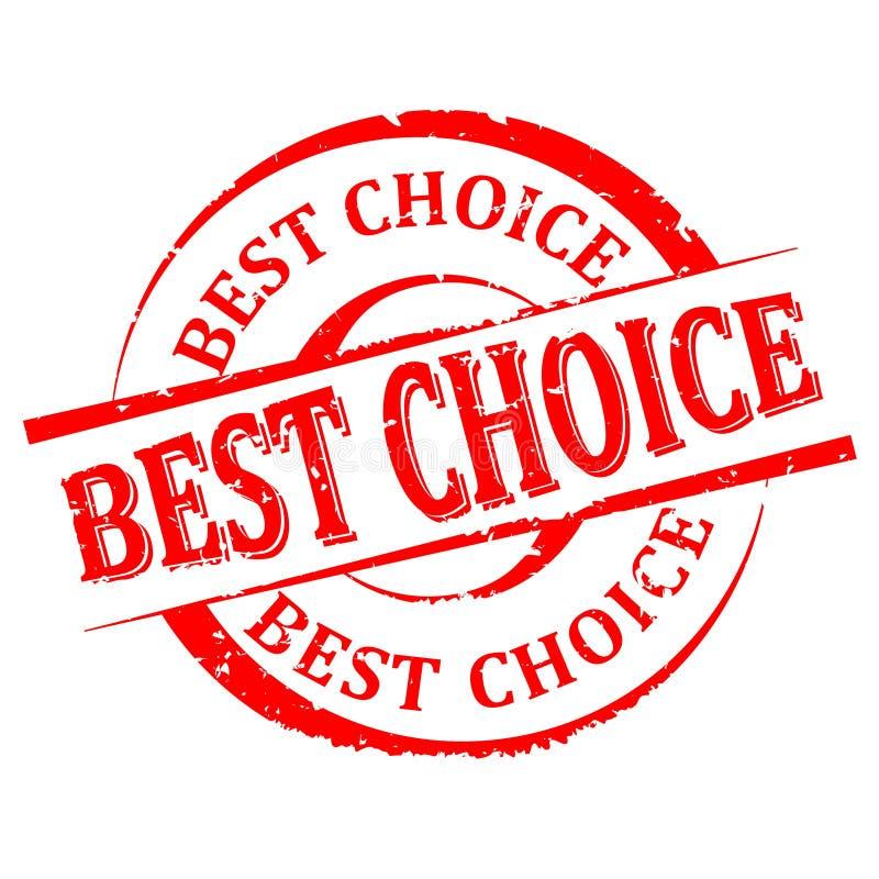 Dañado alrededor del sello rojo con la palabra - la mejor opción - vector imagen de archivo