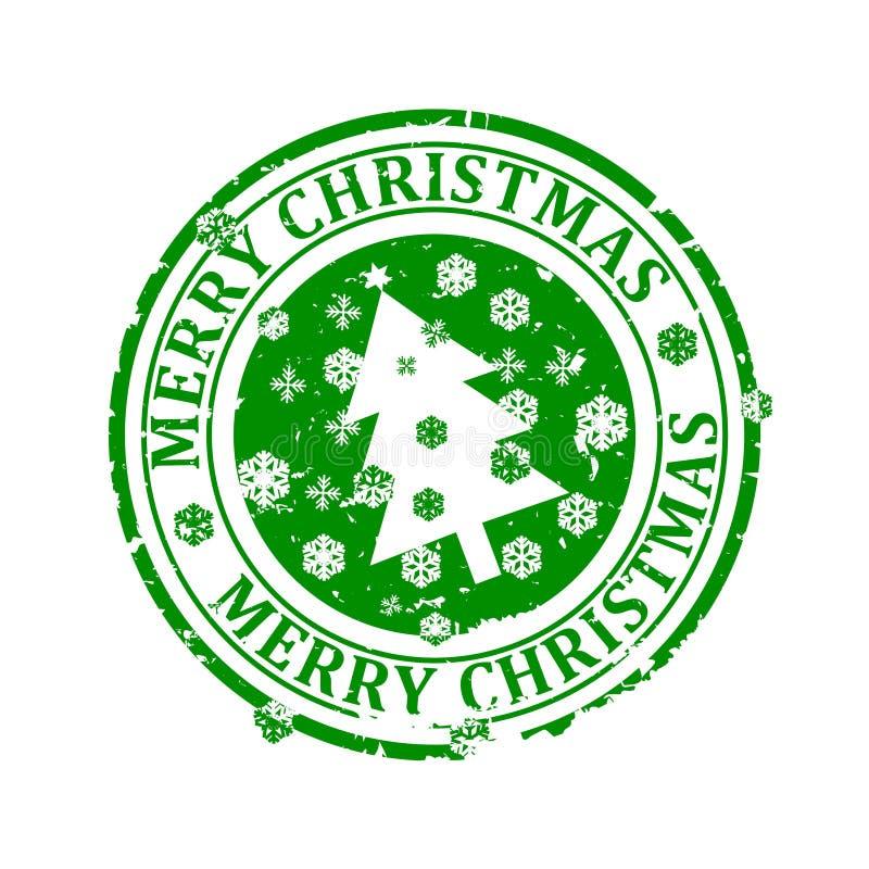 Dañado alrededor del sello verde con las palabras - Feliz Navidad libre illustration