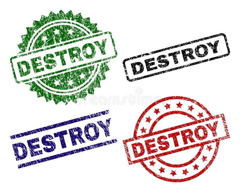 Dañado texturizado DESTRUYA los sellos del sello ilustración del vector