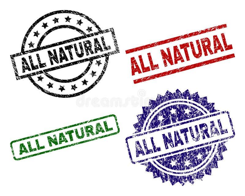 Dañado texturizado TODOS LOS sellos NATURALES del sello libre illustration