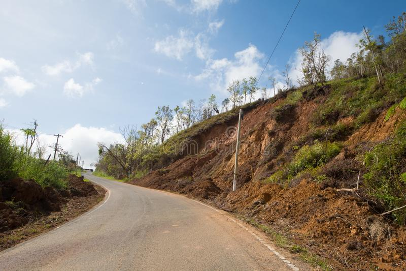 Daño de camino del huracán Maria, septiembre de 2017 fotografía de archivo