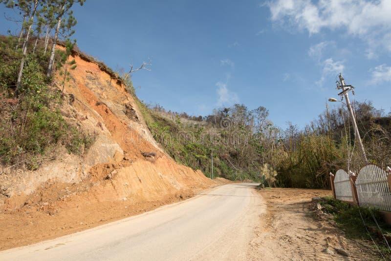 Daño de camino del huracán Maria, septiembre de 2017 fotos de archivo libres de regalías