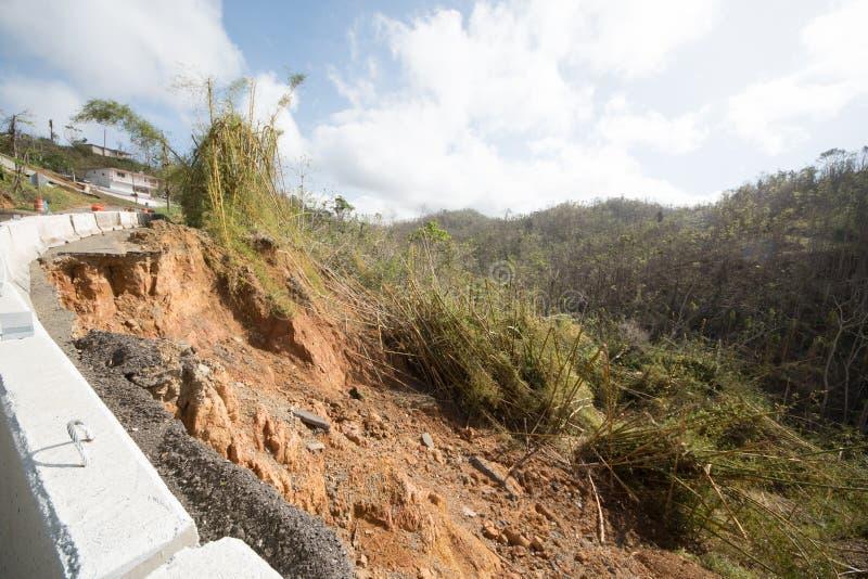 Daño de camino del huracán Maria, septiembre de 2017 imagen de archivo libre de regalías