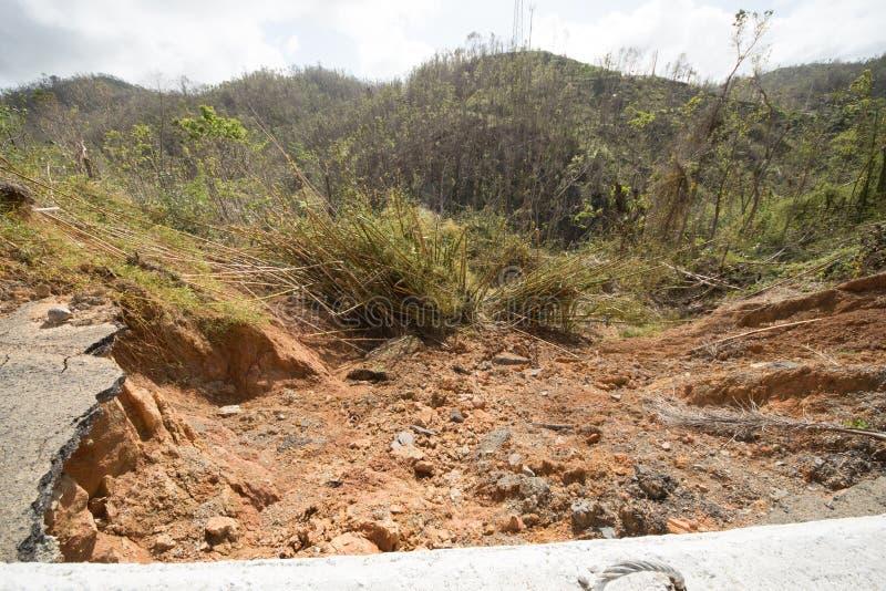 Daño de camino del huracán Maria, septiembre de 2017 foto de archivo libre de regalías