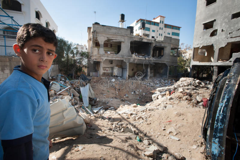 Daño de guerra de Gaza imagen de archivo