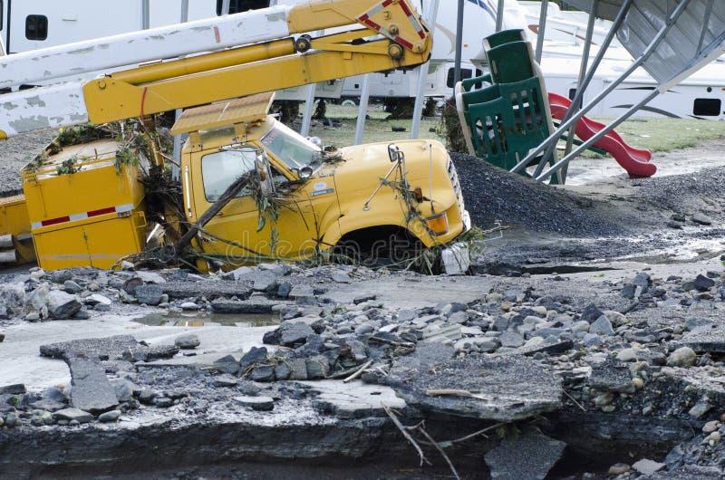Daño de inundación Berlín Vermont: Huracán Irene fotografía de archivo