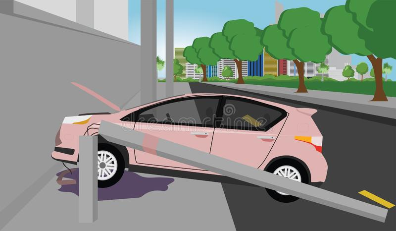Daño del coche en el camino stock de ilustración