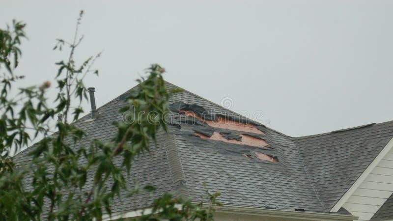 Daño del tejado de huracán, Houston Tejas foto de archivo