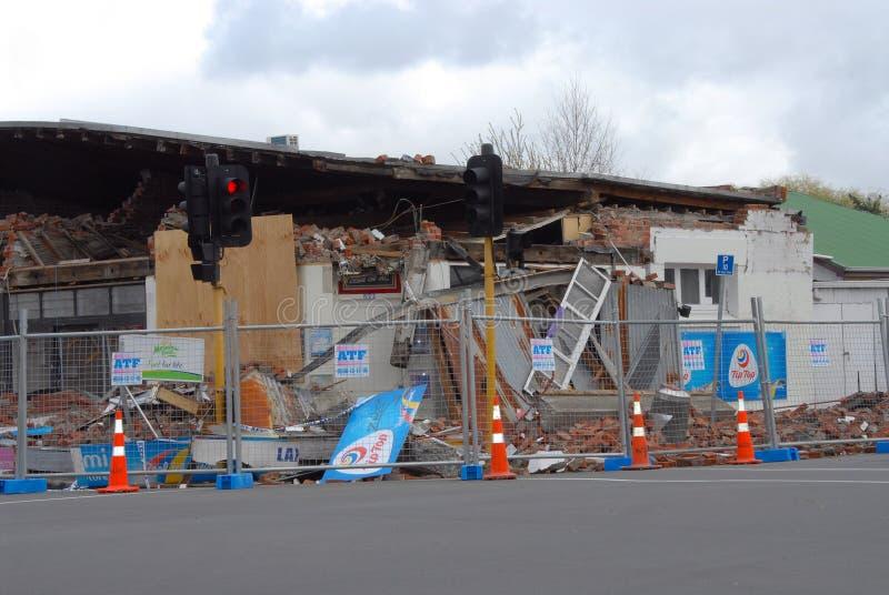 Daño Del Terremoto De Nueva Zelandia Foto de archivo editorial