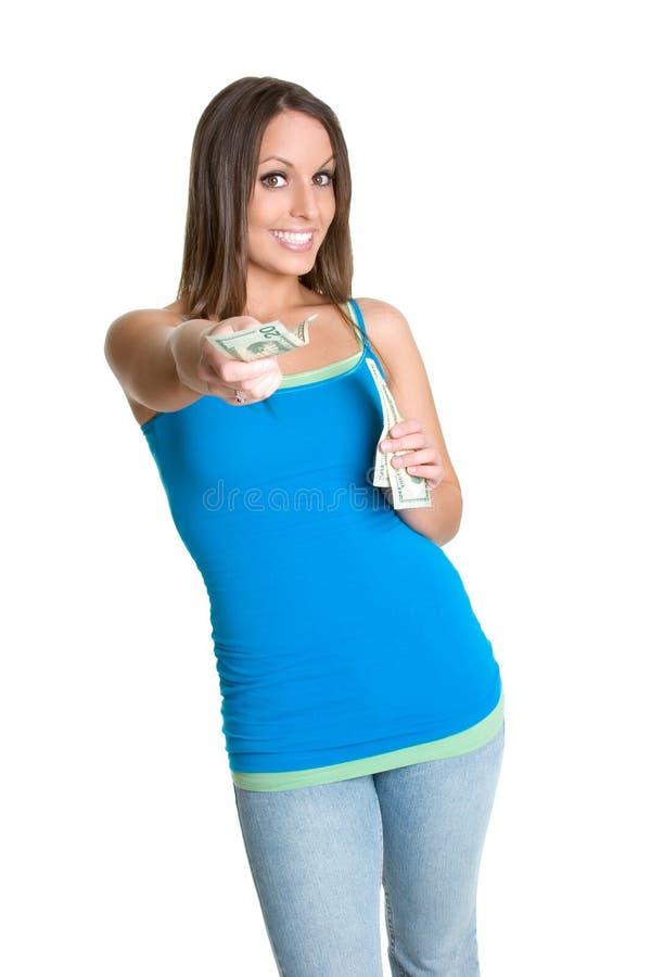 dać pieniądze na kobiety zdjęcie stock
