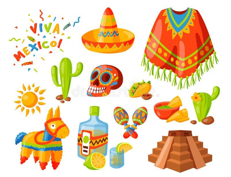 Da afiliação étnica gráfica tradicional da bebida da festa do álcool do tequila do curso da ilustração do vetor dos ícones de Méx fotografia de stock royalty free