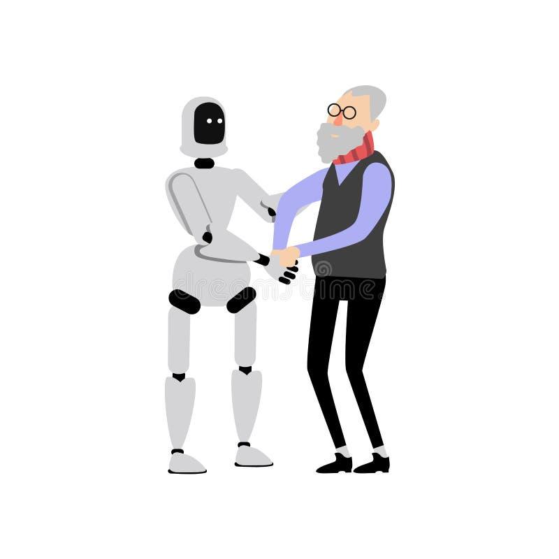 Da ajuda assistente lisa do robô do vetor homem idoso ilustração do vetor