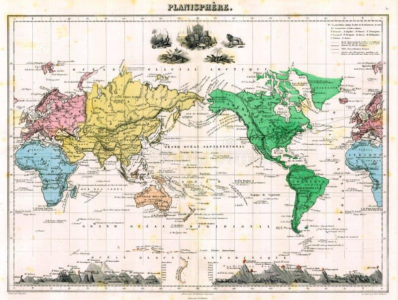 Da antiguidade mapa 1870 de mundo ilustração stock