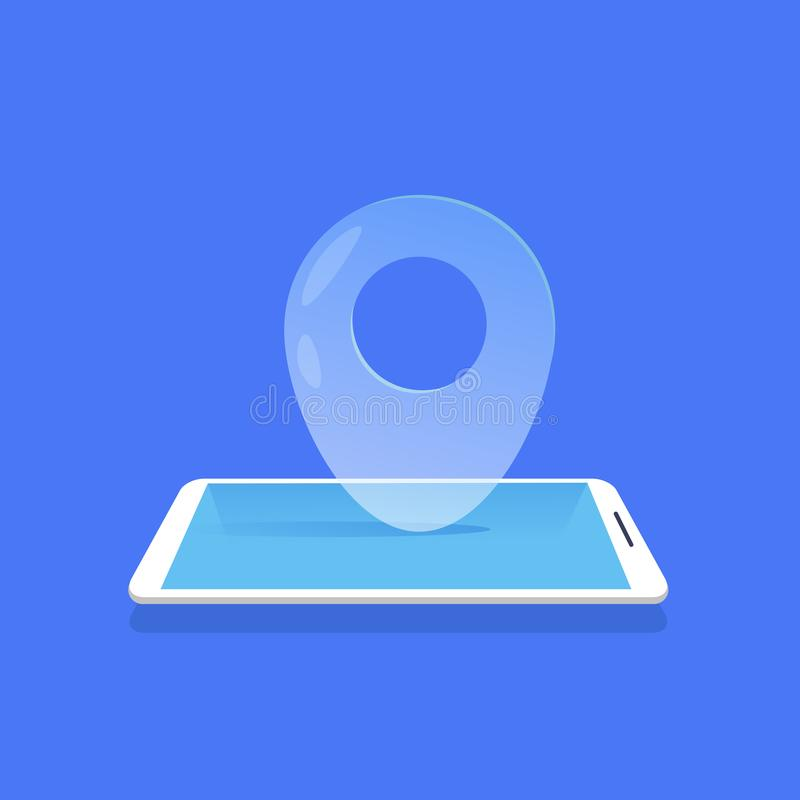 Da aplicação móvel do navegador do ícone do lugar de Geotag fundo azul liso ilustração royalty free