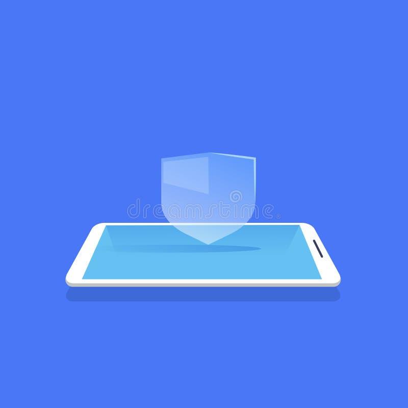Da aplicação móvel do protetor da privacidade do base de dados do ícone da proteção do protetor fundo azul liso ilustração royalty free